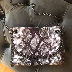 Handbags - Snakeskin print leather bag with chain